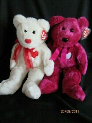 Ty Beanie Buddy Valentino & Valentina Bears - Retired With Tag - Mint Condition • 24.99£