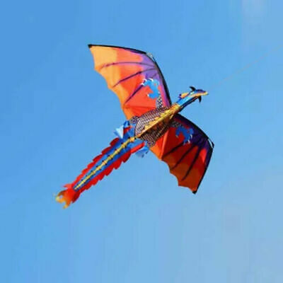 Children Gift 3D Dragon Kites 328ft Line With Tail Kid Toy Flying Activity Games • 12.55£