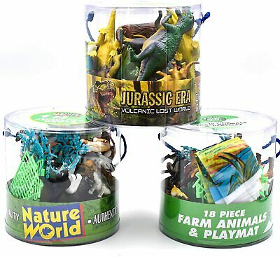 KandyToys 18 Piece Dinosaurs Play Set In Tub – Prehistoric Playset With Toy • 6.95£