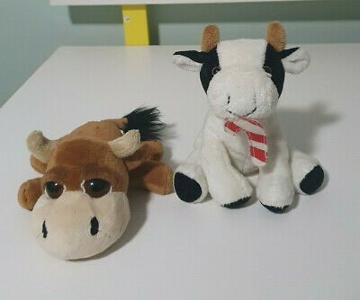 Russ Beanie Animals Cows Brown Boris And Cow With Candy Cane • 13.74£