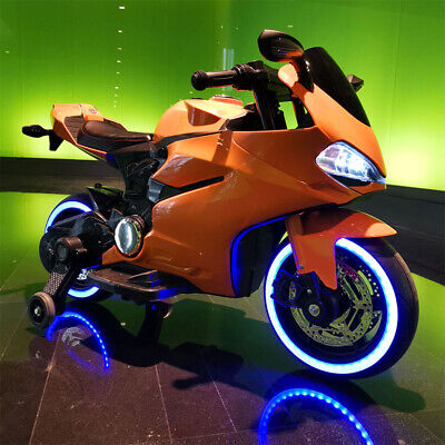 New Elegant Kids Ride On Motorcycle 12V Battery Electric Motorbike Wheels Lights • 99£