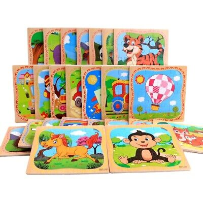 16 Pcs Wooden Jigsaw Puzzle Learning Preschool Educational DIY Toy Toddler Kids • 4.35£