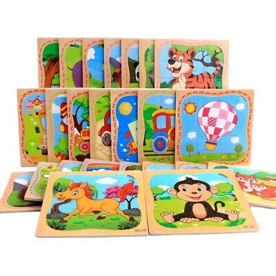 16 Pcs Wooden Jigsaw Puzzle Learning Preschool Educational DIY Toy Toddler Kids • 3.74£