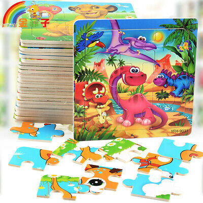 9 Pcs Wooden Jigsaw Puzzle Learning Preschool Educational DIY Toy Toddler Kids • 3.99£