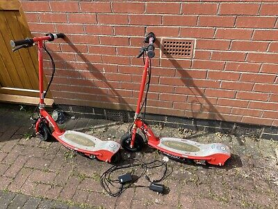 2 X Razor  E100 Red Electric Scooter Rechargeable & 2 Chargers (see Description) • 50£