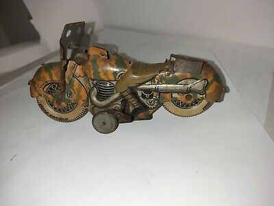 Superb Rare Tinplate Clockwork Mettoy Army Motorcycle A/f  • 85£