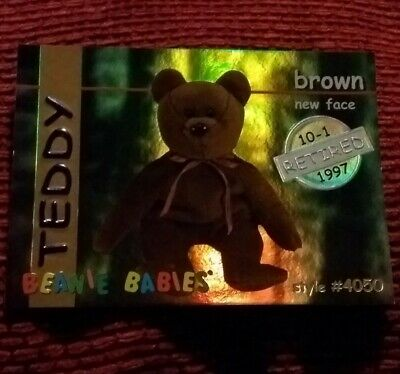 TEDDY (SILVER) Ty Beanie Baby/Babies Collector Club Trading Card Series 1 1998 • 9.99£