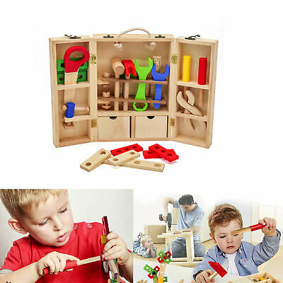 Junior Wooden Tool Set Toy Kids Carpenter Pretend Role Play Tools Gift Playset • 16.99£
