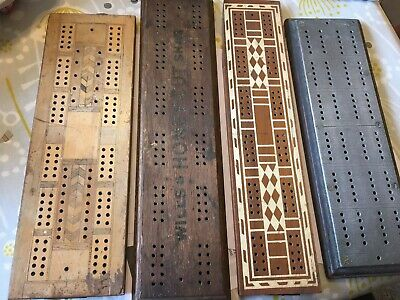 4 Vintage Wood Crib Boards 50s/60s 1 With Metal Face • 3.99£
