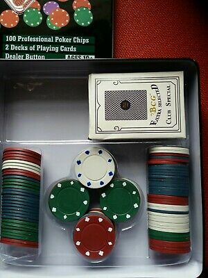 Poker Chips And Cards In Tin • 3.99£