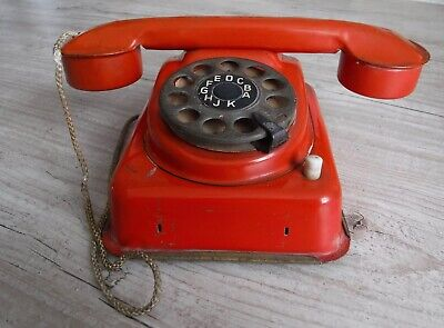 Rare Small German Red Tin Telephone With Clockwork Bell • 15£