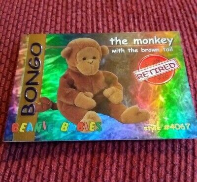 BONGO (RED) Ty Beanie Baby/Babies Collector's Club Trading Card Series 1, 1998 • 1.99£