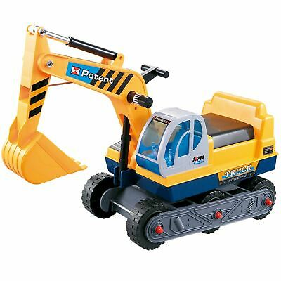 Rexco Childrens Kids Ride On Yellow Excavator Digger Push Along Toy Car Tractor • 19.99£