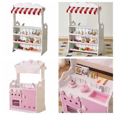 WOODEN TOY PLAY KITCHEN AND MARKET STALL SHOP - 2 In 1 Combo! With Accessories! • 129.99£