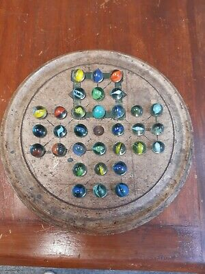 Antique Solitaire Game With Vintage Marbles • 22£