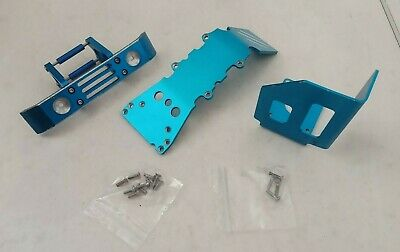 Traxxas T Maxx Blue Alloy Front & Rear Bulkheads / Chassis Braces / Skid Plates • 39.50£
