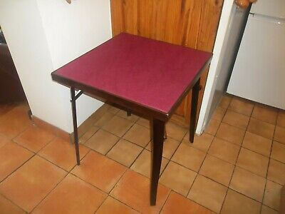 Vintage Folding Card Bridge Poker Games Table Covered In New Plum Coloured Baize • 30£