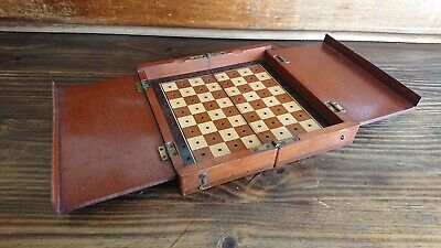 Antique 1900 The Whittington Mahogany Wooden Wood Travel Chess Set Board Box Vtg • 10£