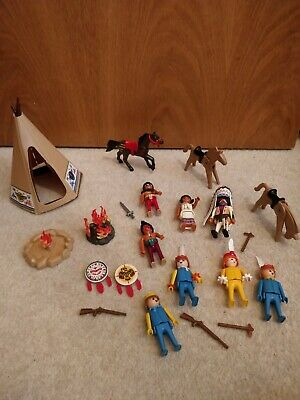 Large Playmobil Cowboys And Indians Set Bundle With Teepee Set  • 25£