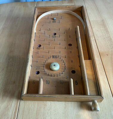VINTAGE 1950s WOODEN  MARBLE GAME  BAGATELLE PINBALL GAME. • 0.99£