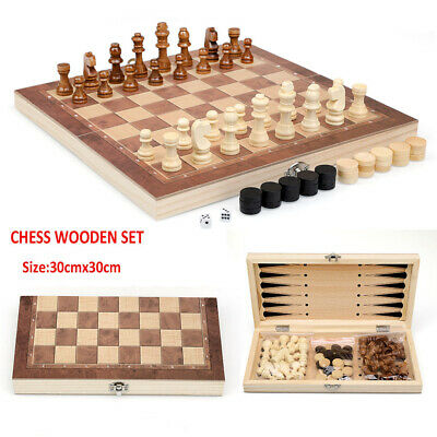 NEW 3 In 1 Large Chess Wooden Set Folding Chessboard Pieces Wood Board Game 30CM • 13.99£