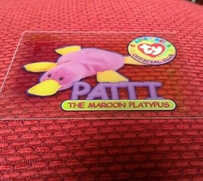 PATTI (RED) Acetate Ty Beanie Babies Collector Club Trading Card, 1998. Series 1 • 19.99£