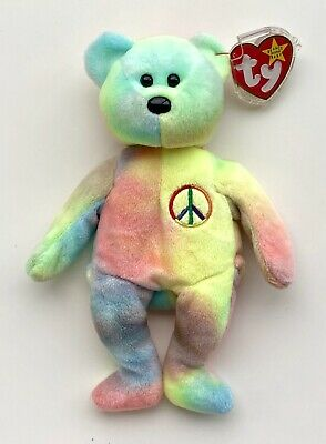 Ty Beanies Retired Peace Bear 1996 Mint With Tags And Tag Protector • 3.90£