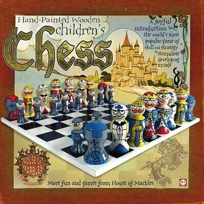 Hand Painted Wooden Children's Chess Set (House Of Marbles) • 9.99£