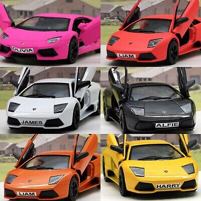 PERSONALISED PLATES Gift Lamborghini Boys Toy Car Diecast Present 6 Colours New • 8.95£