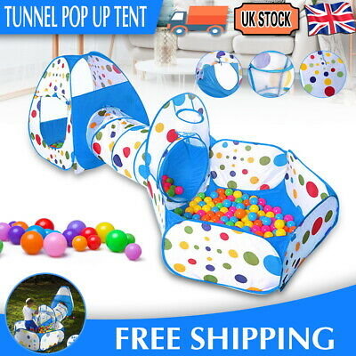 3 In1 Kids Play Pop Up Tent Toddler Tunnel Ball Pit Cubby Boy Girl Playhouse UK • 16.99£