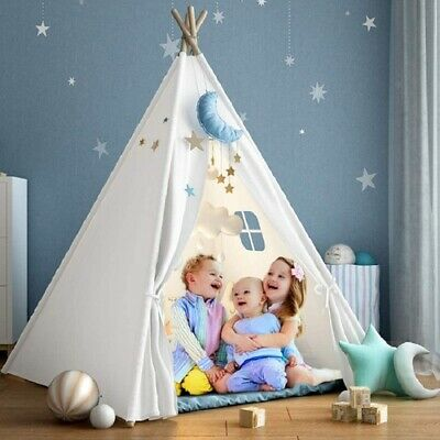 Large Advanced Canvas Children Indian Tent Teepee Kids Indoor Outdoor Play House • 400.79£