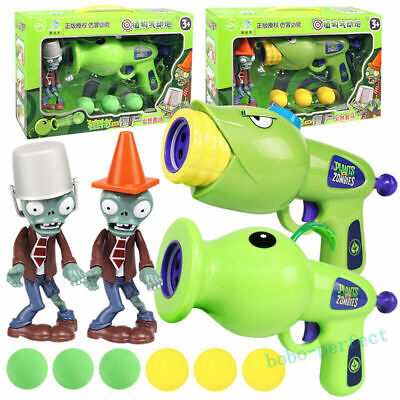 Plants VS Zombies Toy Gun Soft Bullets Pea Shooter Game Kids Bday Gift In Box • 12.99£