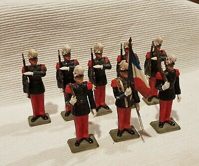 STARLUX. 60mm VINTAGE French Plastic Toy Soldiers.  Troops On Parade X8. • 25£