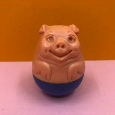 Vintage Airfix Weebles Pink & Blue Pig Piglet Animal Wobble Toy Figure 1970s • 6.99£