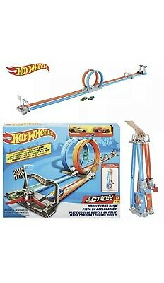 Hot Wheels Double Loop Dash *With 2 Cars* Side-By-Side Drag Race Track Set New • 33.90£
