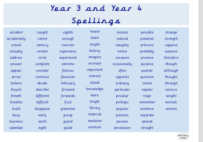 Year 3 And Year 4 Spellings Laminated Word Mat. Education. Vocabulary. Children • 3.70£