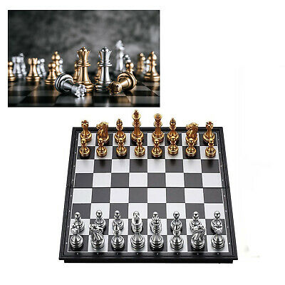 Folding Chess Set Silver And Gold Magnetic Chess Set Pieces Chessboard Game 32PC • 13.49£