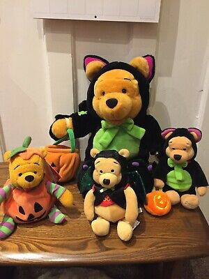 Disney Winnie The Pooh Halloween Bundle 3 X 8  Beanie + Large Plush Cat Soft Toy • 20£