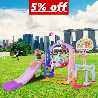 UK 6 IN 1 Kids Swing Playground Slide Set Children Play Indoor Outdoor Toddler • 94.68£