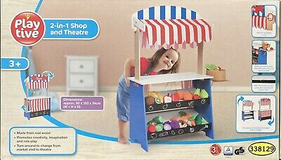 Playtive 2 In 1 Shop And Theatre Wooden Wood Role Play Toy • 62.99£