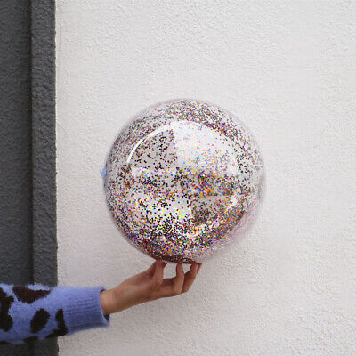16 Inches Transparent Sequin Inflatable Ball Summer Funny Water Fun Play Beach • 3.19£