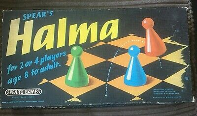 VINTAGE HALMA BOARD GAME SPEARS GAMES 1972, 2-4 Players, Age 8 To Adult • 5£
