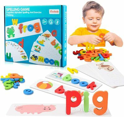 Letter Recognition Spelling Game Wooden Alphabet Learning Cards Educational Toy • 11.49£