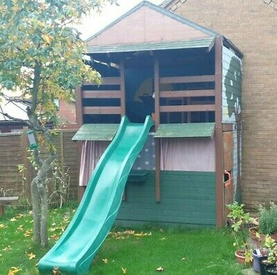 Two Story Wooden Playhouse Children's Outdoor Wendy House Two Story Play Den • 99£