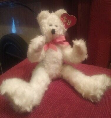 Ty 10  Attic Treasure NOLA Jointed White Teddy Bear. 1992. Retired. 1st Gen Tags • 19.99£
