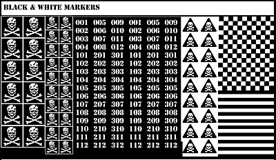 BattleTech - 148x Waterslides Decals - Opaque White Markers On Black Background • 6£