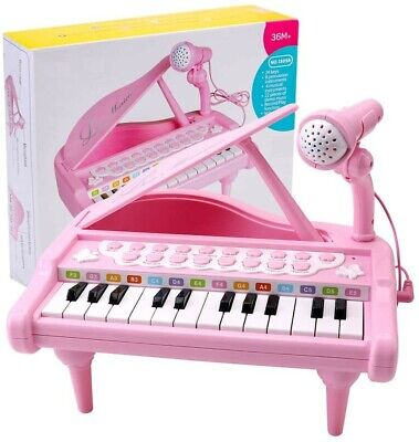 Girls Electronic 24 Key Keyboard Piano Toy Record+Microphone Mp3 Musical Pink • 13.95£