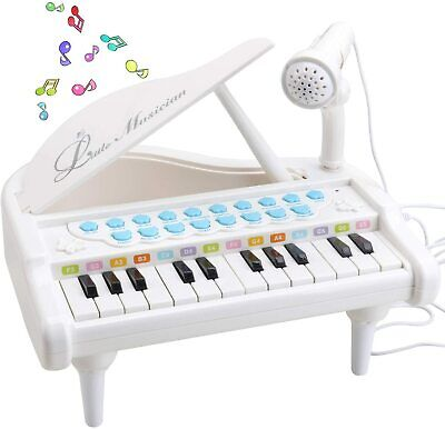 Electronic 24 Key Keyboard Piano Toy Record+Microphone Mp3 Children White Music • 12.95£
