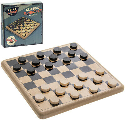Retro Traditional Board Game Draughts Wooden Checkers Classic Family Kids Toy • 7.50£