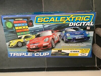 Scalextric Digital Triple Cup Race Set. Excellent Condition. C1223 + Extra Track • 79.01£